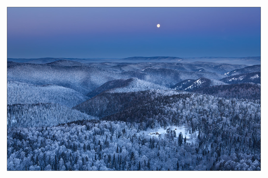 The moon | Moon, hills, pine wood, snow