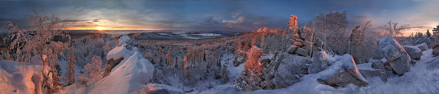 Sunset light | mountains, trees, sunset, winter, rocks