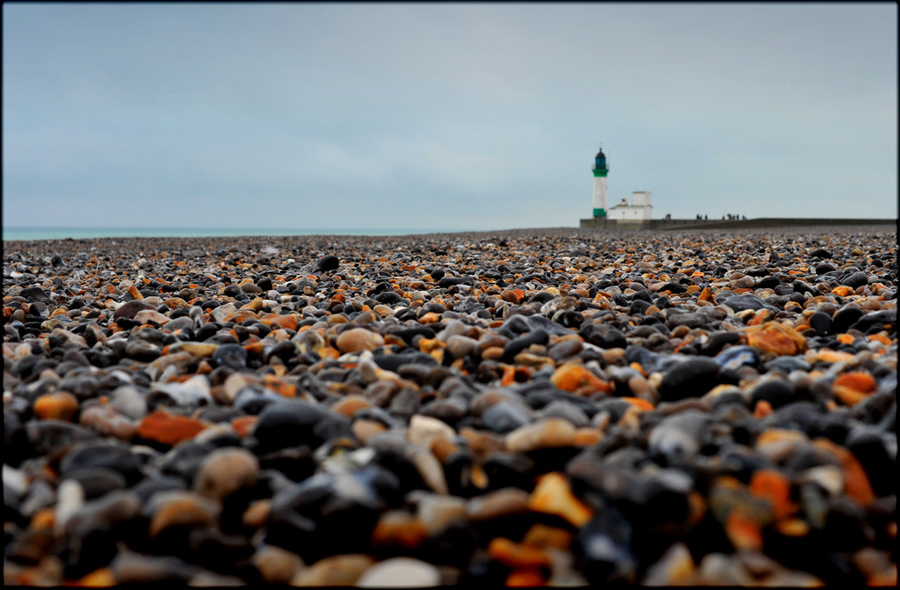 Stone beach | stone, lighthouse, skyline, sea