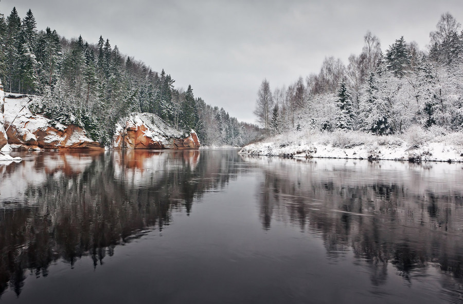 Before winter came | winter, river, wood, spruce