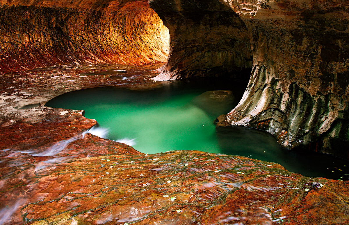River inside the cave | cave, river, water, light