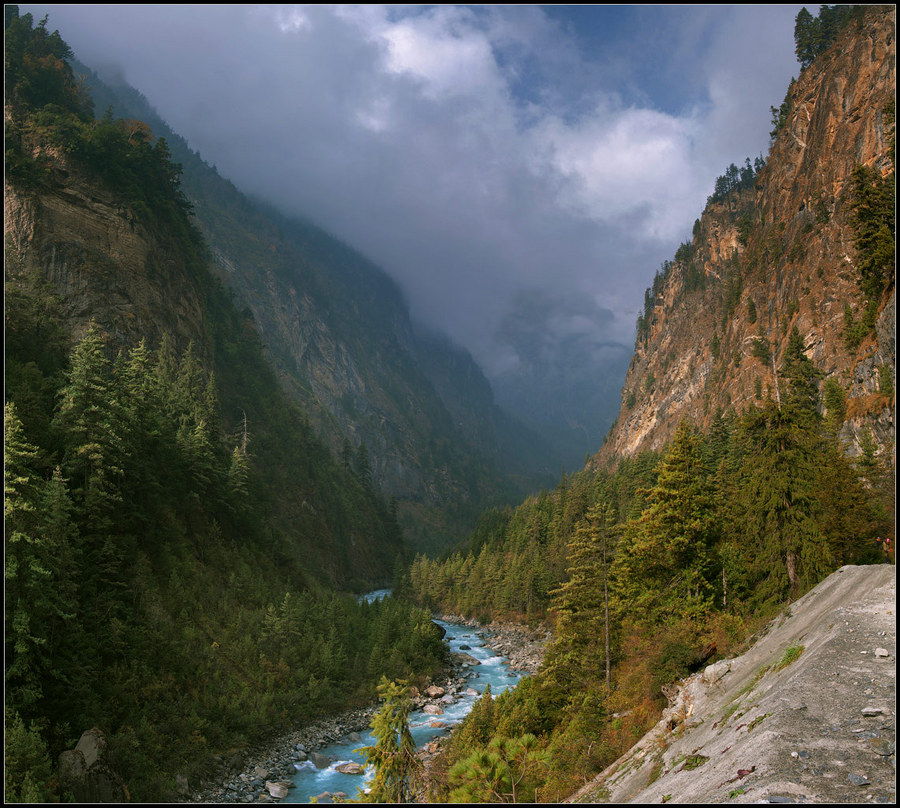 Himalayas | water, mountains, trees, haze, river