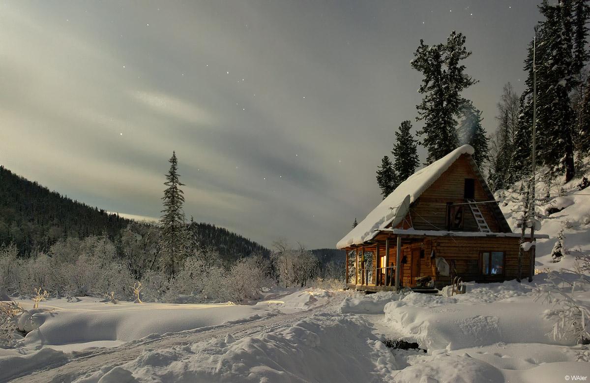 House in polar lights | polar light, house, snow, pine wood