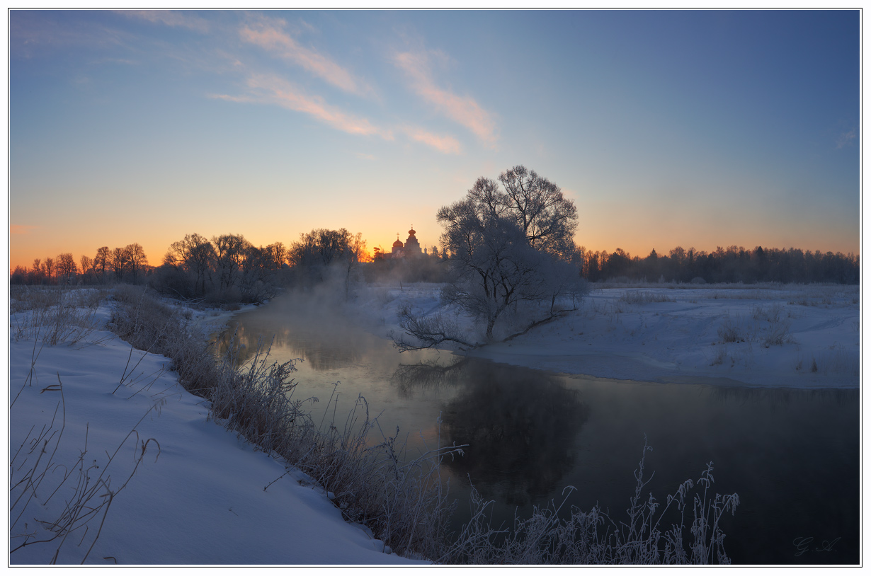 Smoking river | river, winter, church, dusk