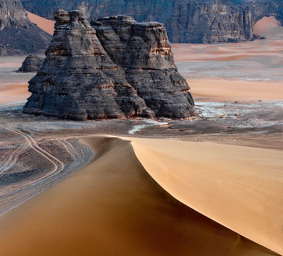 Desert, Sahara | Algeria, Tadrart, Sahara, sand, shade, desert, downs, tracks, rock, landscape