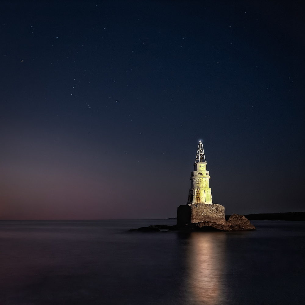 Night lighthouse | landscape, nature, sea, night, water, light, lighthouse, dark, stars, sky