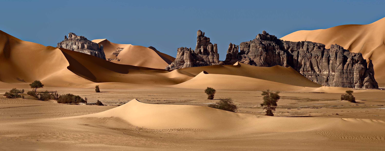 Fairy desert, Algeria | Algeria, sand, downs, desert, shades, trees, rocks, panorama, Tadrart, sky