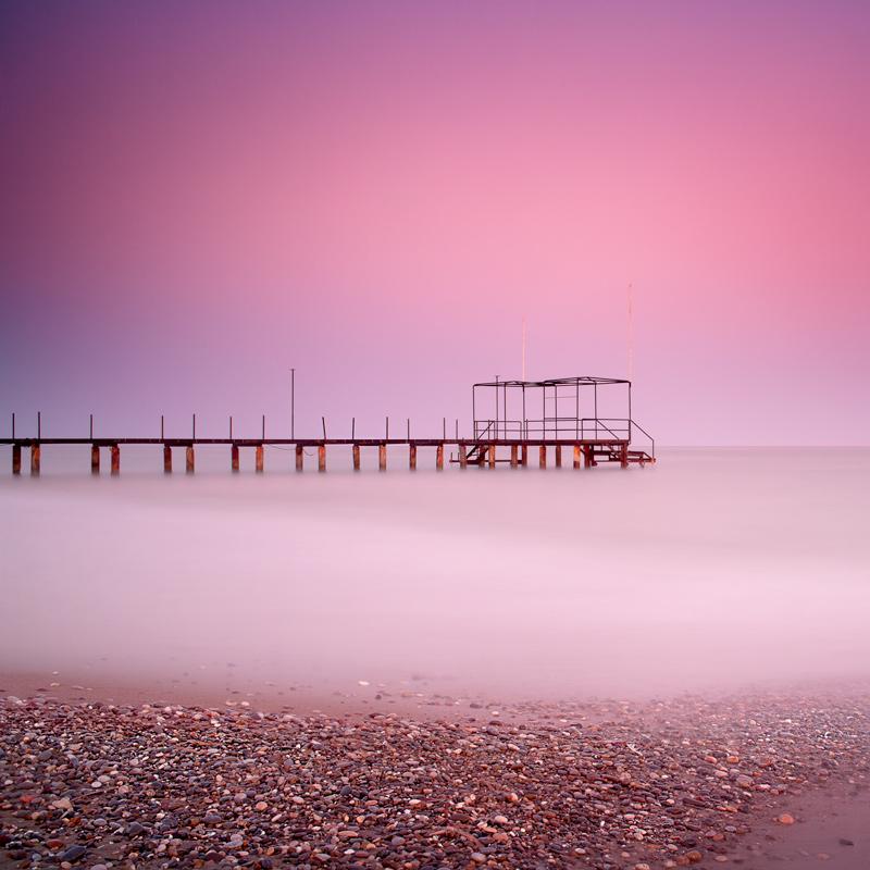 Shades of pink | pink, bridge, ocean, stony shore