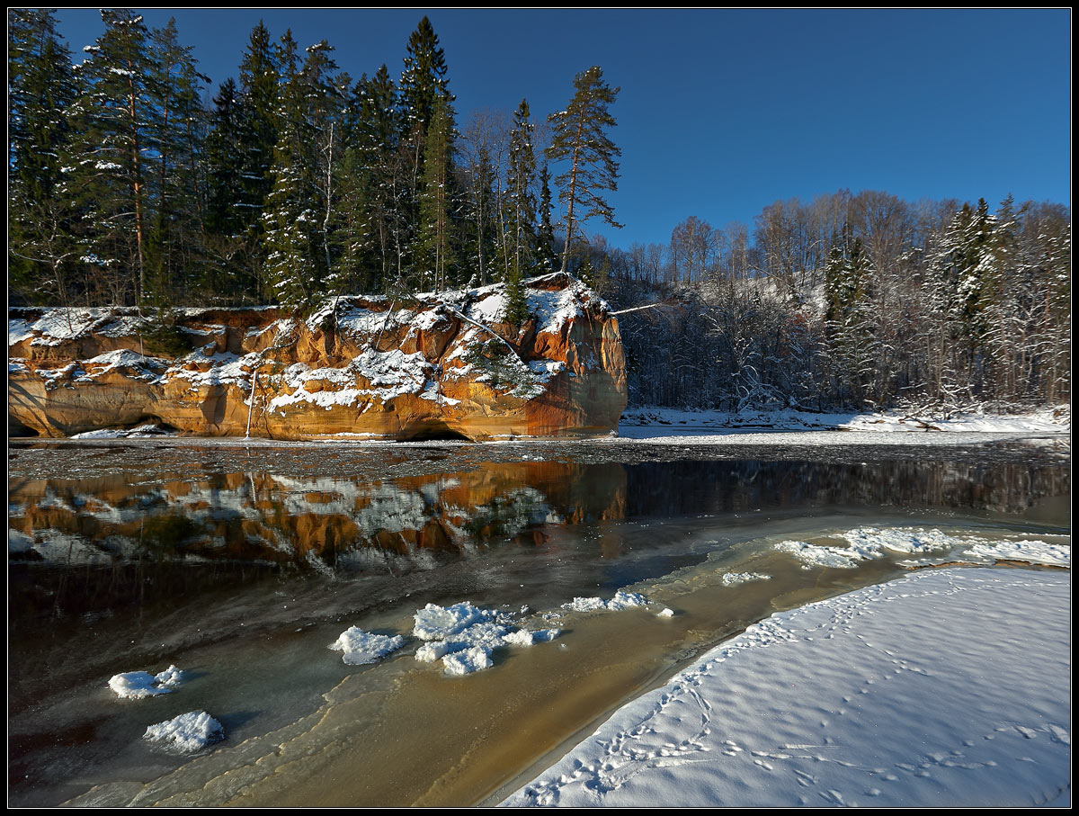 Winter rock | landscape, nature, outdoor, winter, snow, forest, trees, water, sky, rock