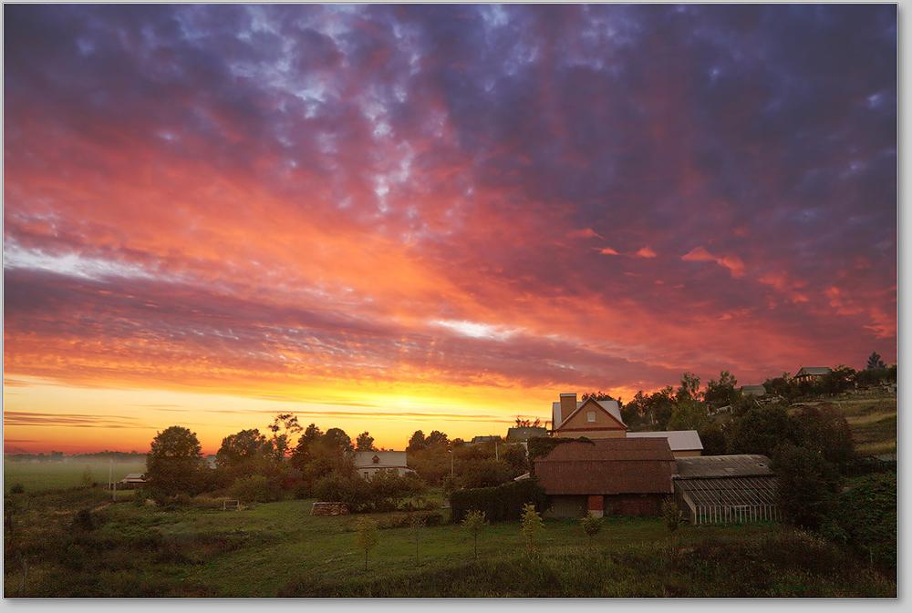 Variegated dawn | dawn, sky, house, tree