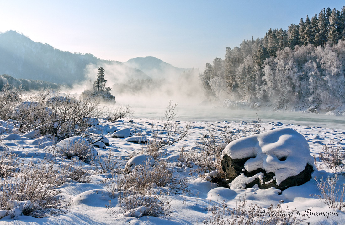 Steam allover the river | steam, river, snow, winter