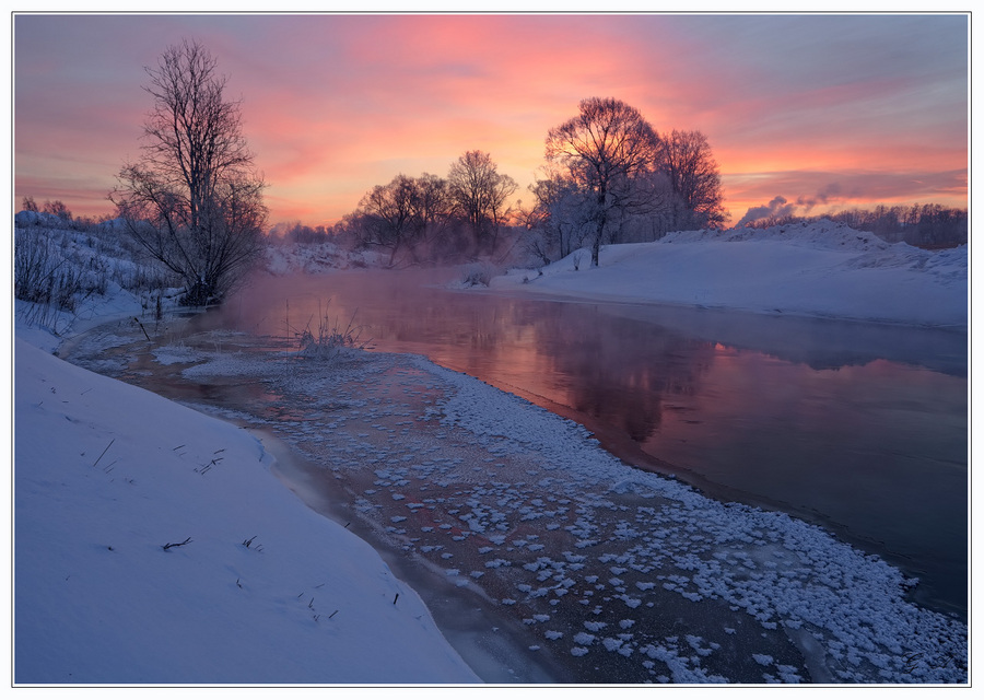 Dusk in the country | countryside, river, dusk, snow