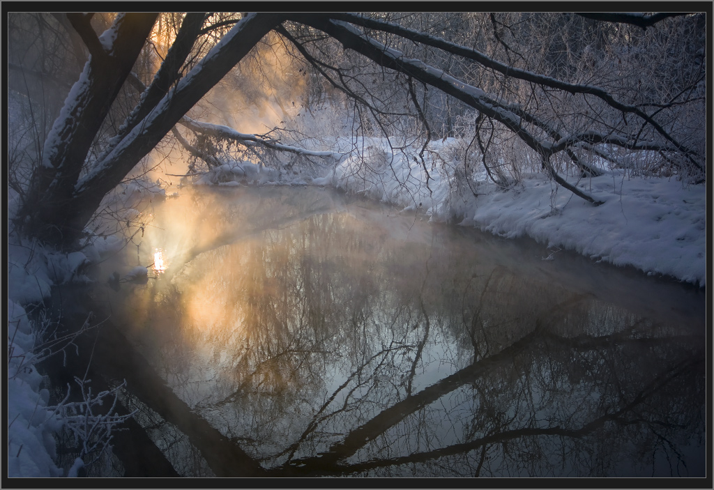 Reflection in the river | reflection, river, snow, salley