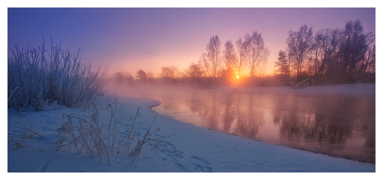 Winter sunrise | sunrise, river, winter, snow