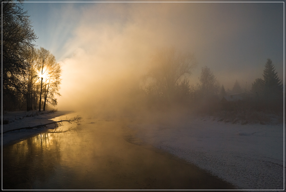 Morning fog | fog, river, sunbeam, tree