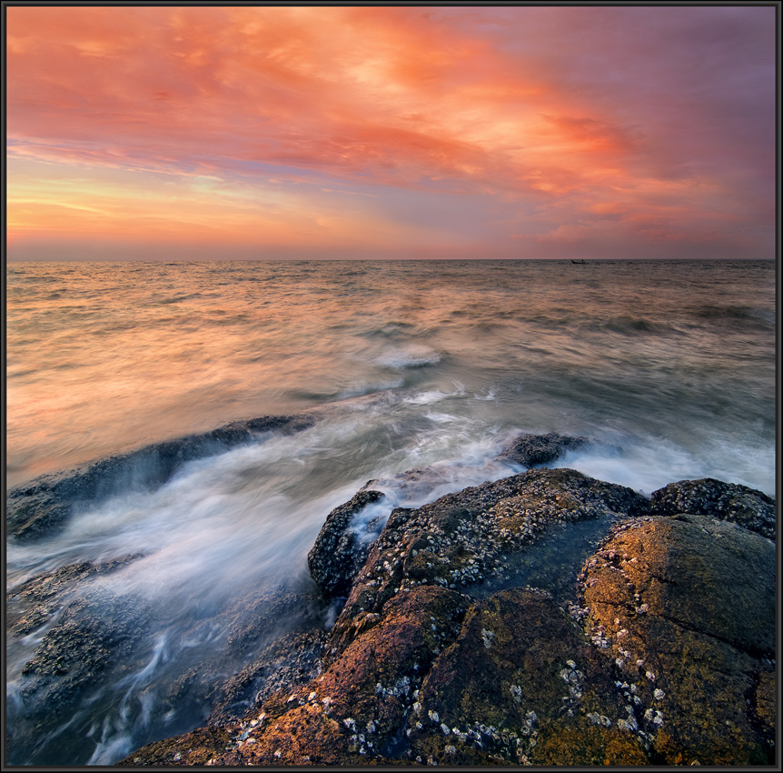 Colourful sunset | landscape, nature, sea, sunset, scarlet, water, waves, sky, stones, colourful