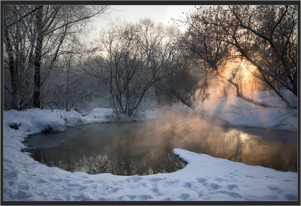Fog above the lake | fog, lake, snow, spring