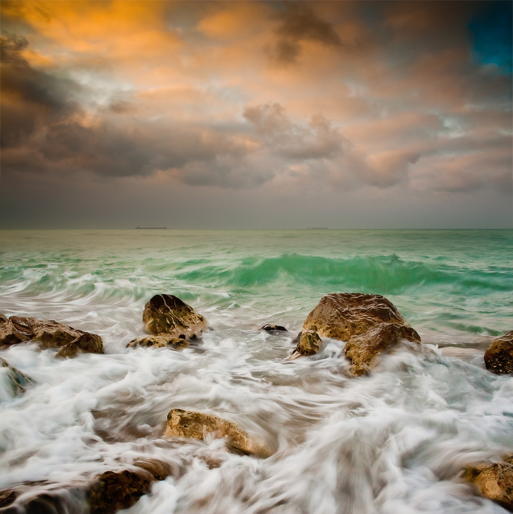 Waves at sea | sea, water, sky, clouds, skyline, stones, wave, sunshine, foam, clear