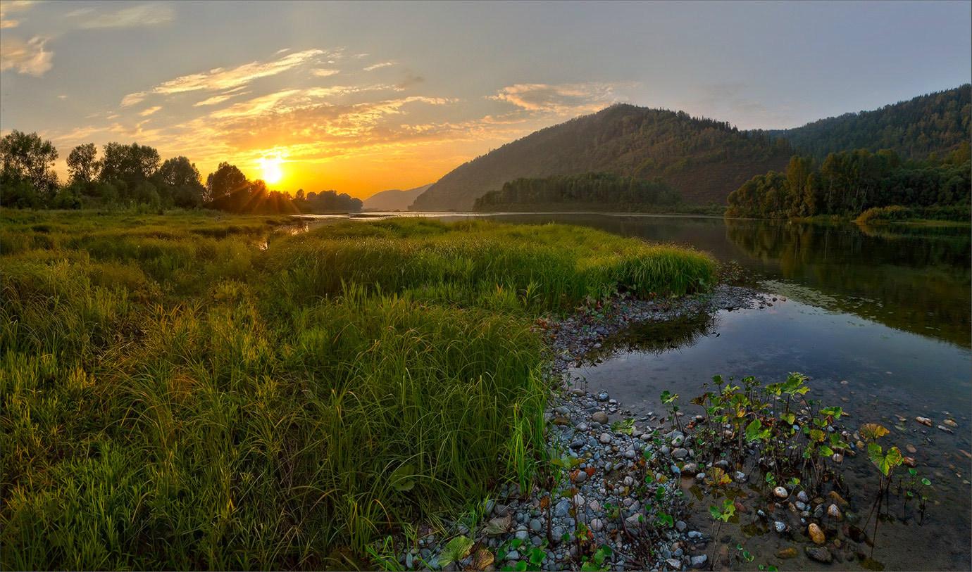 Alluring landscape   landscape, sun, sky, water, stones, sunrays, sunset, grass, trees, summer