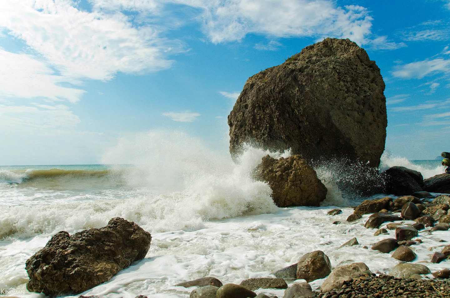 Light storm, Crimea | Crimea, sea, storm, wave, stone, foam, pebble, sky, water, resort