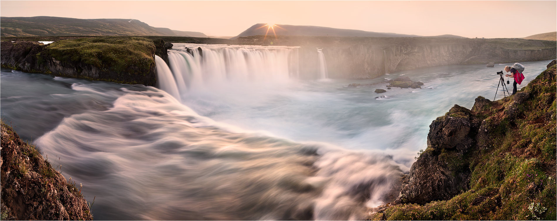 Waterfall and the cameraman | waterfall, cameraman, sunrise, haze
