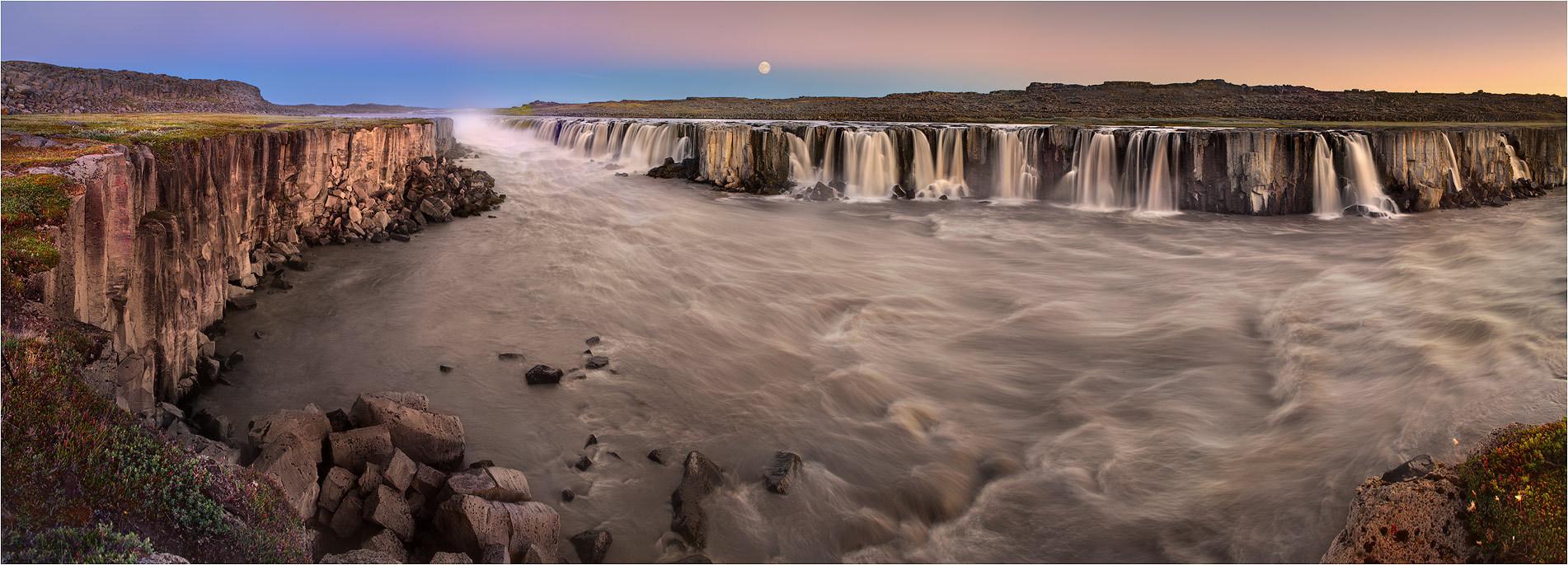 numerous waterfalls | waterfall, mist, dusk, hills