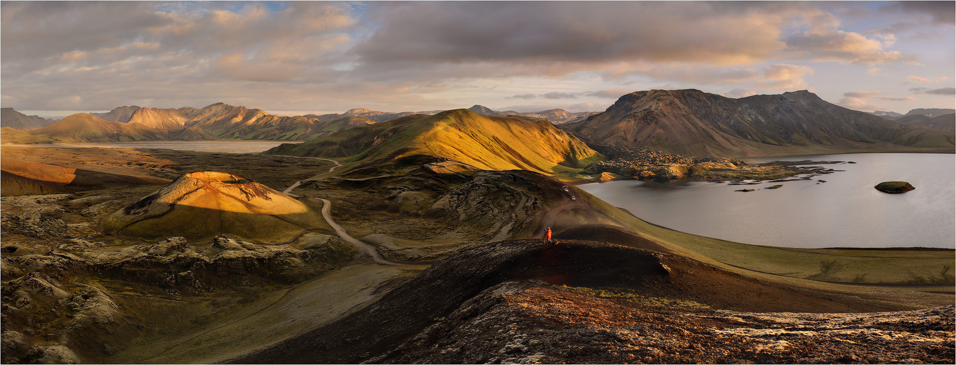 Evening panorama, Iceland | Iceland, landscape, panorama, evening, hills, sunshine, water, mountains, clouds , sunset