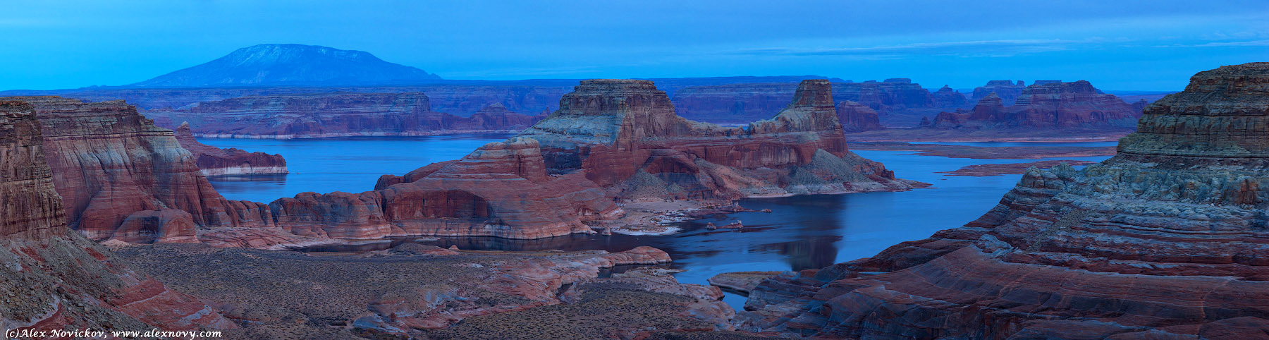 Panorama in cold colours | landscape, nature, outdoor, panorama, water, blue sky, stones, rock, cold colours, horizon