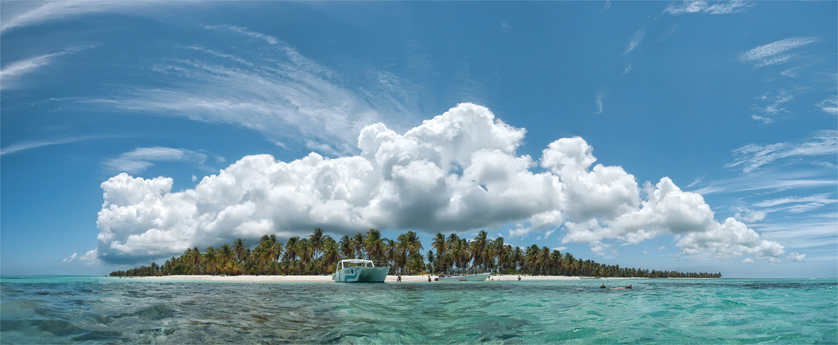Saona Island, Dominican Republic | landscape, nature, panorama, Saona , Island, Dominican Republic, palms, beach, clouds, yacht