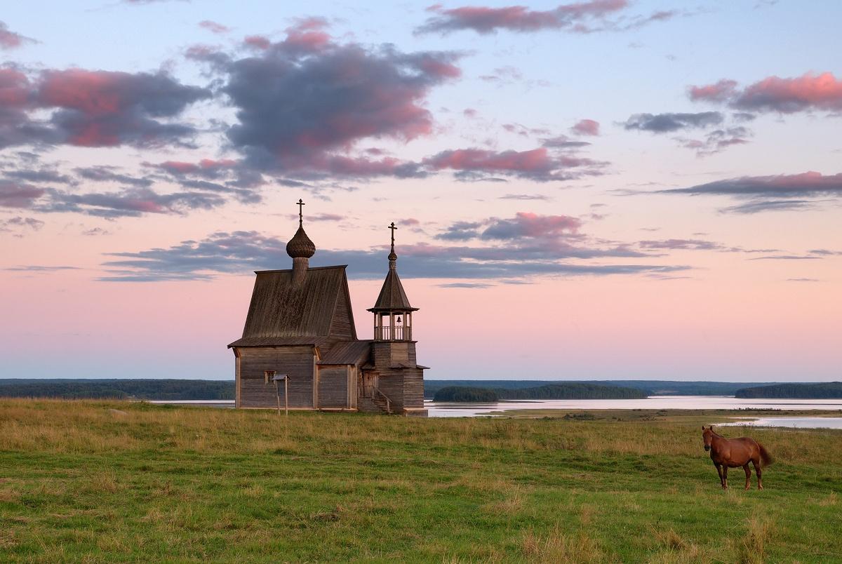 Lake Kenozero | Kenozero, lake , village, Vershinino, landscape, clouds, church, wooden, grass, horse