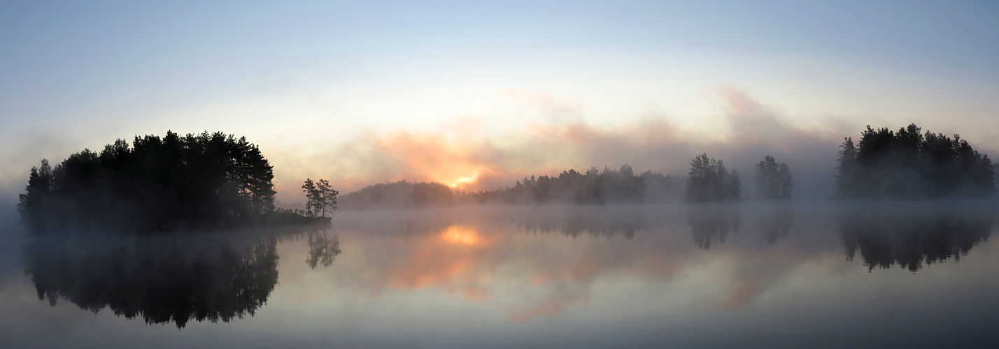 Morning on a lake  | landscape, morning, islands, lake, fog, sun, trees, sunrise, reflection, light