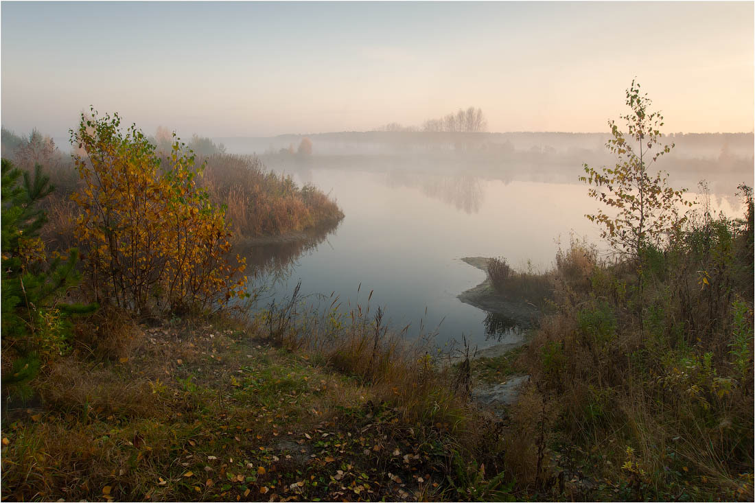 Autumn morning | autumn, morning, haze, lake