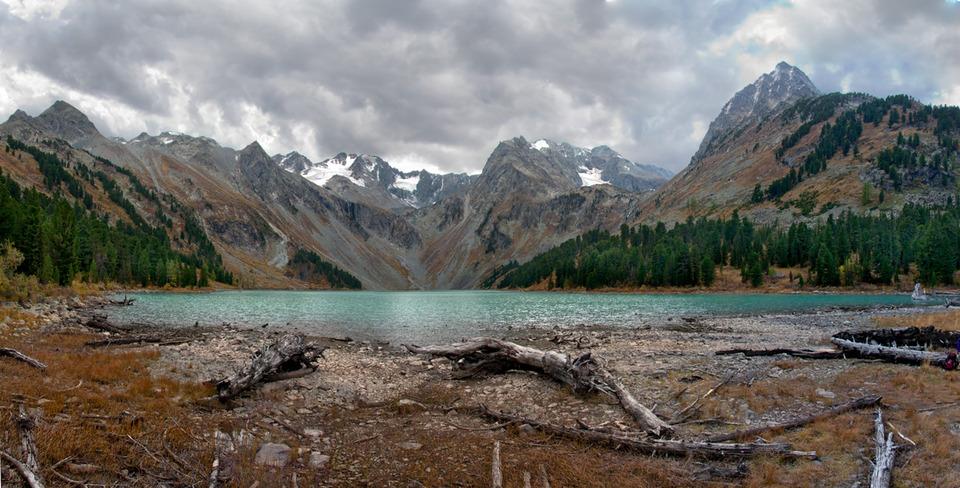 Katun Reserve, Altai   Multa, Altai, lake, Katun Reserve, mountain, sky, thunderstorm, forest, landscape, coast