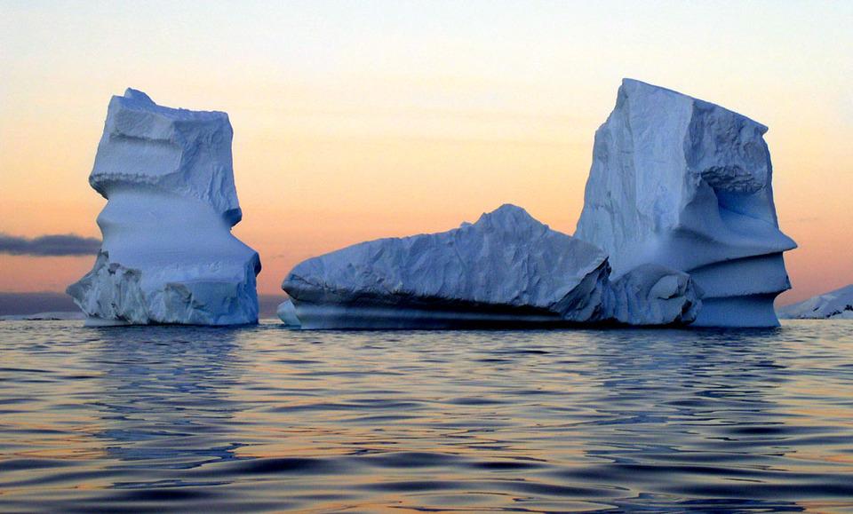 Icebergs | iceberf, ocean, north pole, dusk