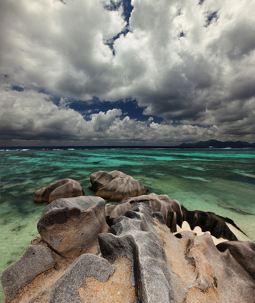Source d'Argent, Seychelles | landscape, Seychelles, beach, Source d'Argent, sea, clouds  , sky, water, clear, stones