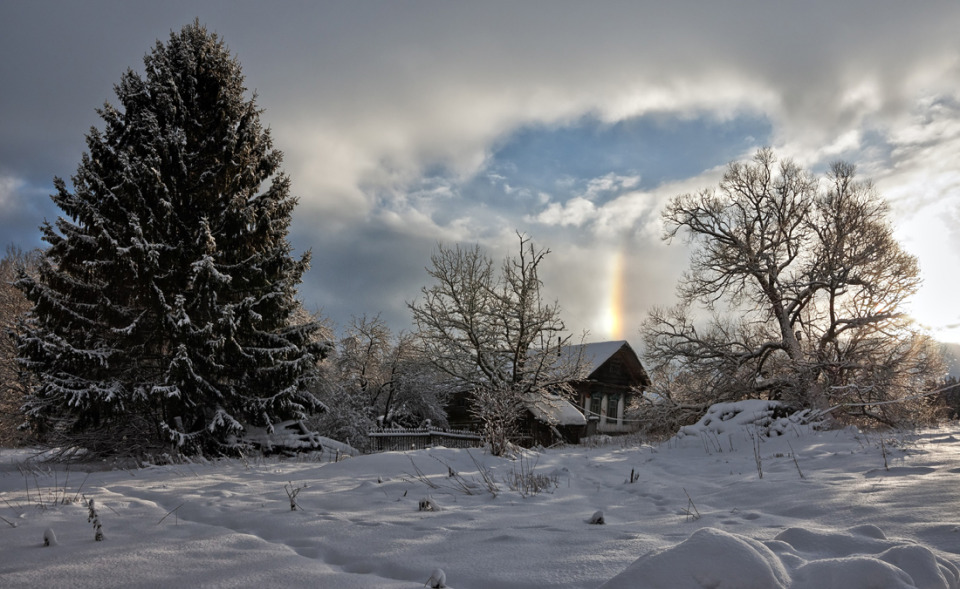 Rainbow in winter | landscape, nature, outdoor, winter, snow, trees, house, sky, clouds, rainbow