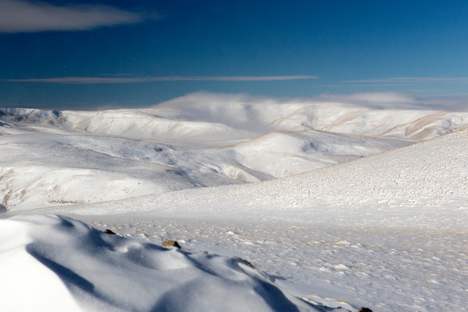 Snowfield | snow, sky, white, plain, blue, clouds, whiteness, stones, winter, landscapes
