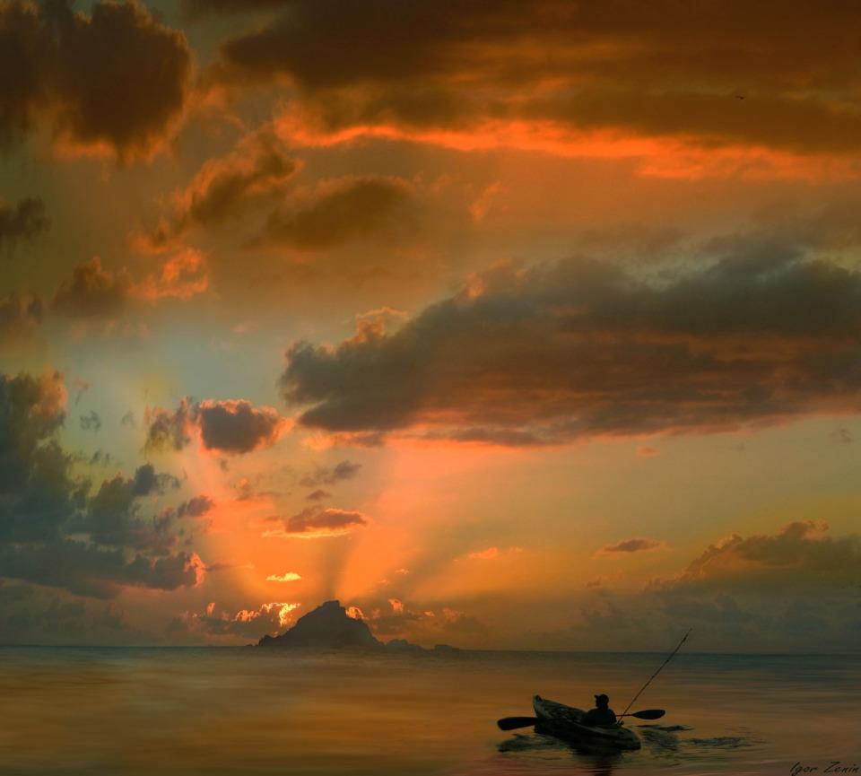 Fisherman at sea | landscape, nature, sea, sunset, sunshine, clouds, sky, scarlet, boat, fisherman