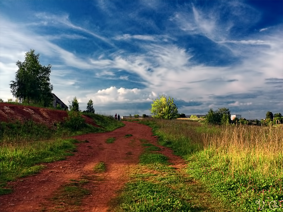 Summer way, Boksitogorsk | landscape, nature, outdoor, sunny day, green grass, sky, clouds, trees, way, Boksitogorsk