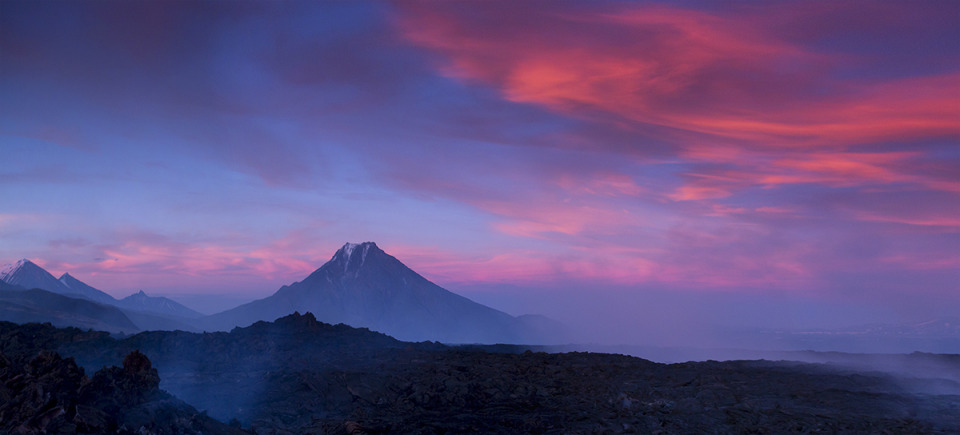 Kamchatka, volcanic eruption | landscape, nature, outdoor, sky, clouds, scarlet, volcano, fog, Kamchatka, sunset