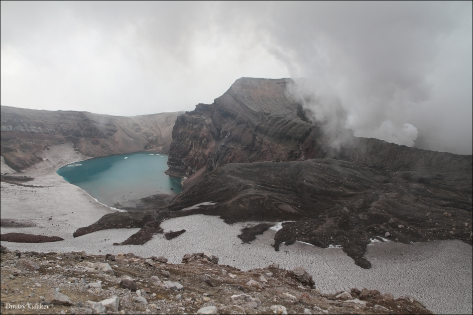 Acidic lake, volcano Gorely | crater, Gorely, volcano, lake, acidic, summer, water, fallow, landscape, nature