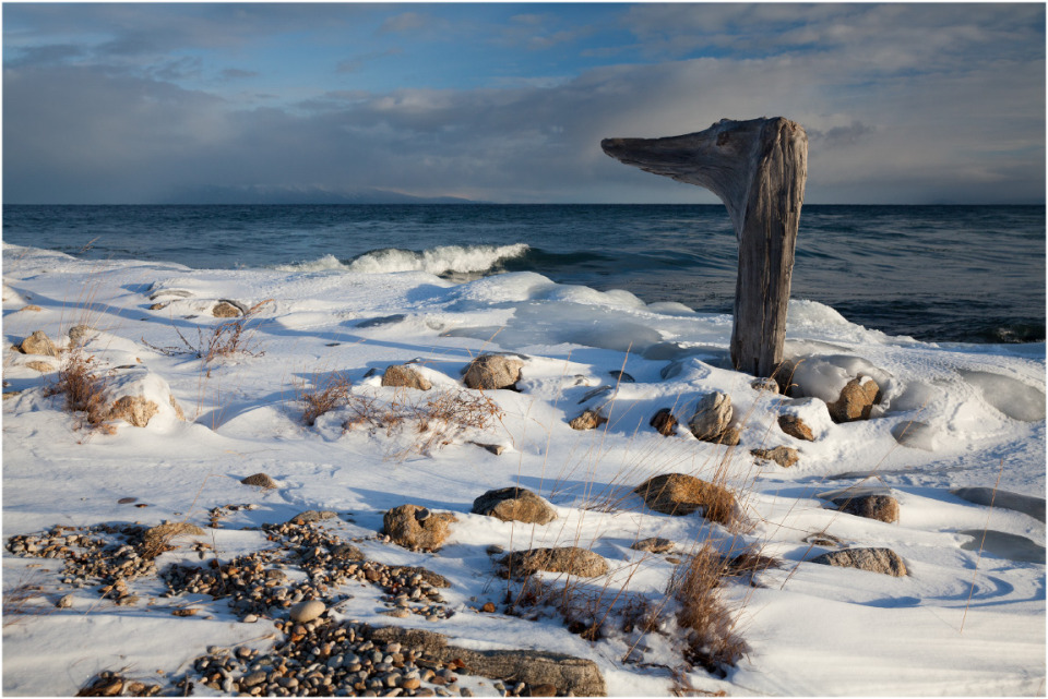 Lake Baikal, Buryatia | Baikal, lake, Buryatia, snow, winter, skyline, clouds, stones, stick, looking
