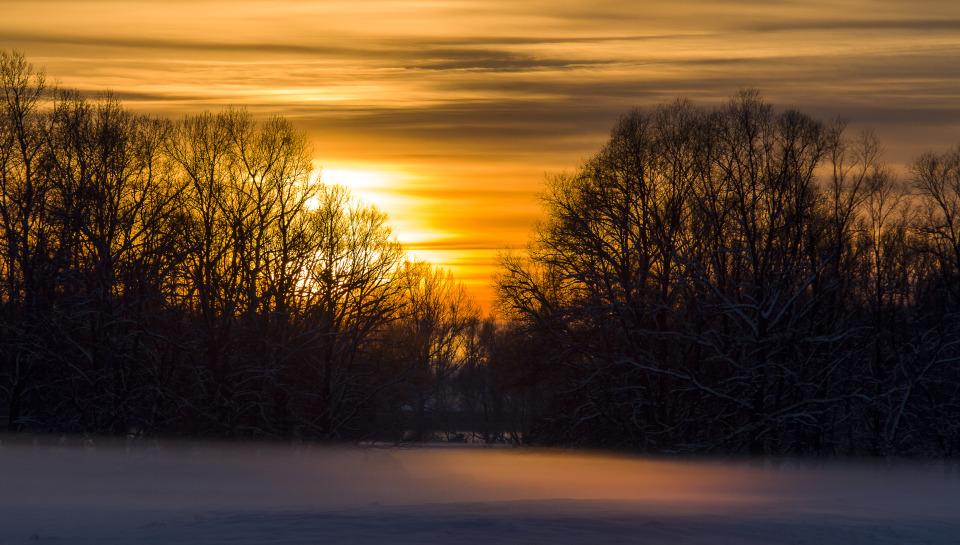 Sunset | sunset, winter, sky, trees, snow, fog, branches, orange, shine, landscape